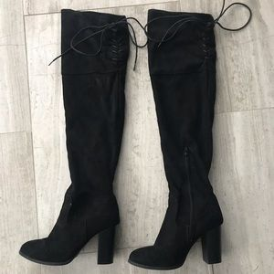 Shoes - Suede over the knee boots-black